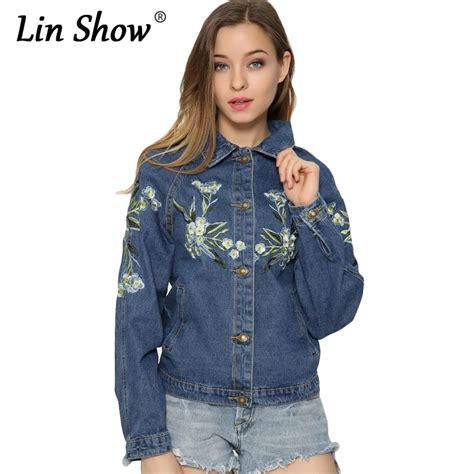 pattern jeans jacket aliexpress com buy linshow 2016 embroidered denim women