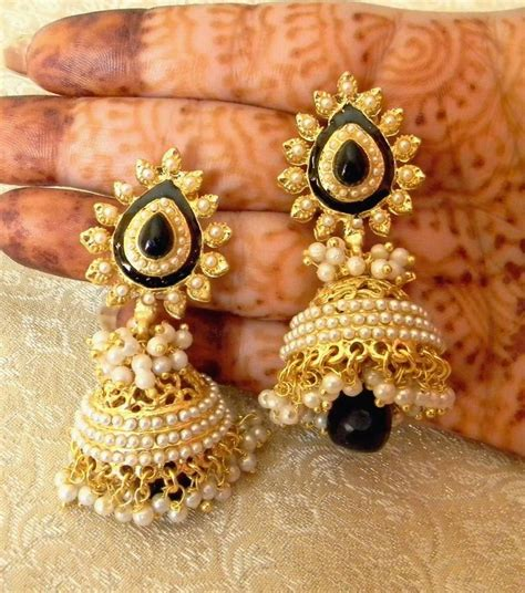 design earrings online buy fabulous black gold plated bandani jhumka earrings online