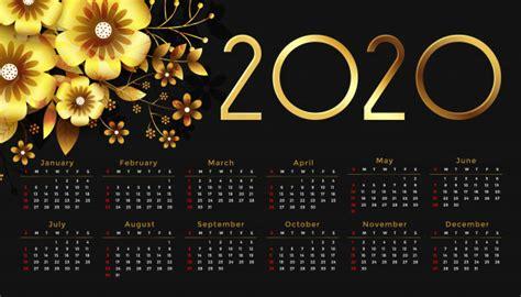 bela  flor dourada feliz ano novo design de calendario vetor gratis