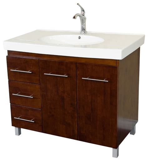 39 inch single sink vanity wood walnut left side drawers