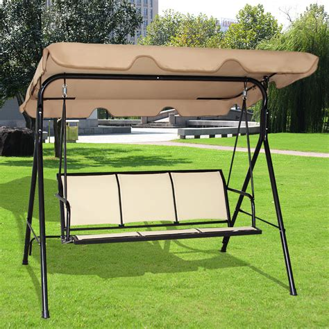 patio swing costway outdoor patio swing canopy 3 person canopy swing