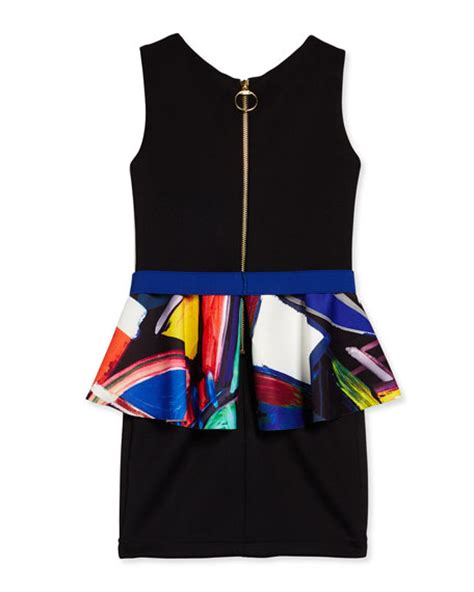 Abstract Peplum Dress zoe abstract peplum sheath dress multicolor size 7 14