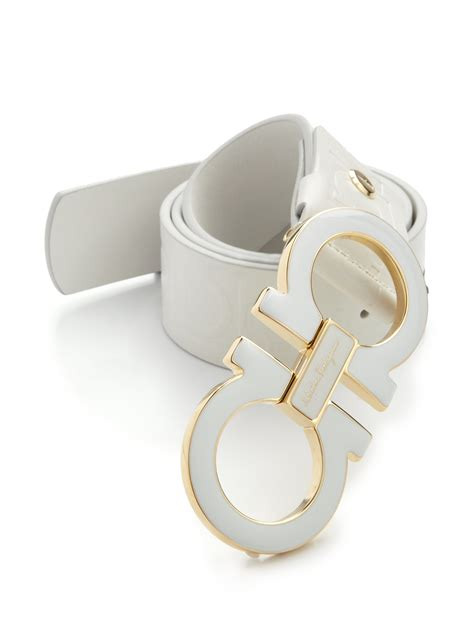 lyst ferragamo gancini leather belt in white for
