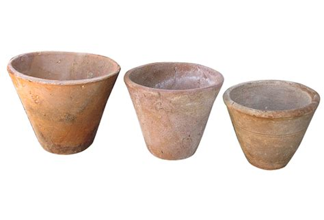 Clay Planter Pots by 3 Vintage Thrown Clay Primitive Flower Pots Omero Home