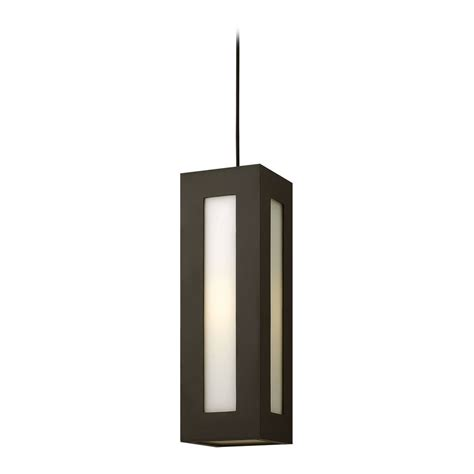Modern Outdoor Pendant Lighting Modern Outdoor Hanging Light With White Glass In Bronze