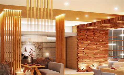 Exqusite Modern Wooden Resto Interior Ideas With Cladding Wall Also Railing Divider Plus Grey