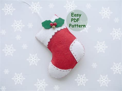 pattern for felt stocking pdf pattern felt stocking easy christmas stocking ornaments