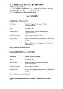 engineering resume sles for experienced sle resume malaysian student
