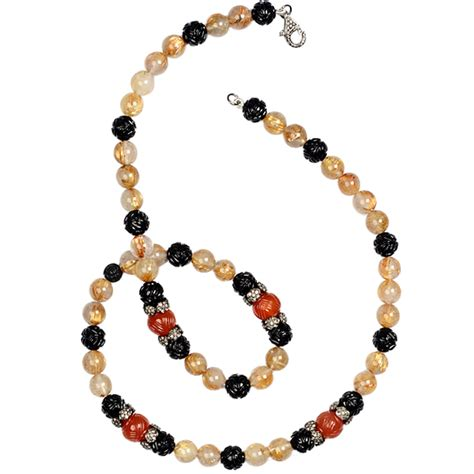gemstone 925 sterling silver beaded necklace