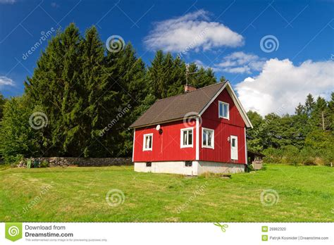 traditional swedish house plans traditional red swedish house at the forest stock photo image 26862320
