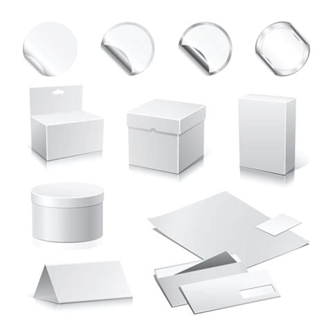 set of paper packaging box design vector 02 over