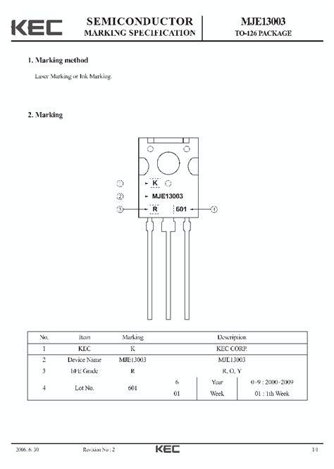 transistor mje13003 mje13003 1718522 pdf datasheet ic on line