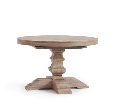 Pedestal Extending Dining Table Banks Extending Pedestal Dining Table Grey Wash Pottery Barn