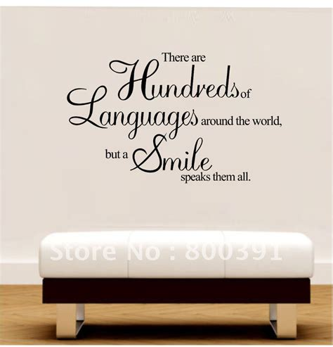 free shipping 60 80cm vinyl wall quotes a smile speaks