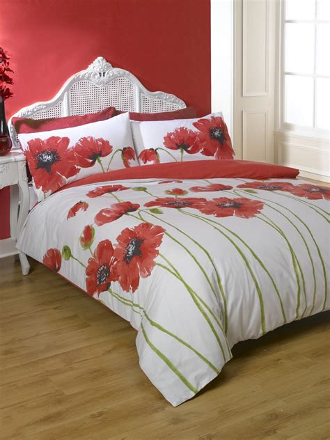 poppy bedding floral bed linen in single double kingsize flowery
