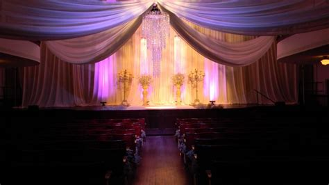 dallas drape and lighting wedding ceremony in the courtroom theater drapery done by