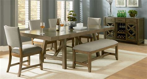 dining room sets with bench omaha dining room set w upholstered bench grey formal