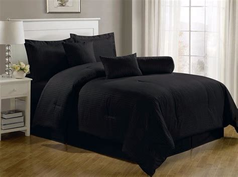 Solid Black Comforter by Chezmoi Collection 7 Hotel Solid Dobby Stripe