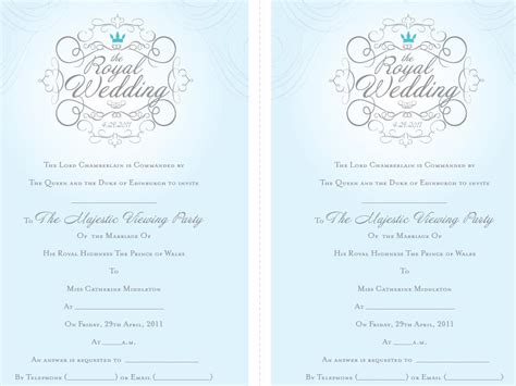 Princess Wedding Invitations Royal Wedding Invitation Template Free