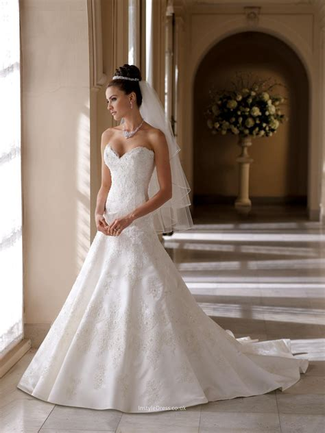 beading a wedding dress beaded satin and lace a line bridal gown uk with strapless