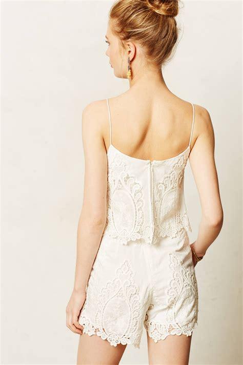 dolce vita acadia lace hem romper in black lyst lyst dolce vita tiered lace romper in white