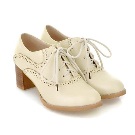 womens white oxford shoes brogue womens oxford lace up wing tip retro mid chunky