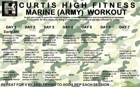 free marine army workout programme to pass fitness