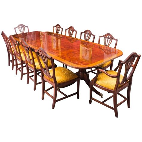 Regency Style Dining Table And Chairs Mahogany Regency Style Dining Table And Ten Chairs At 1stdibs
