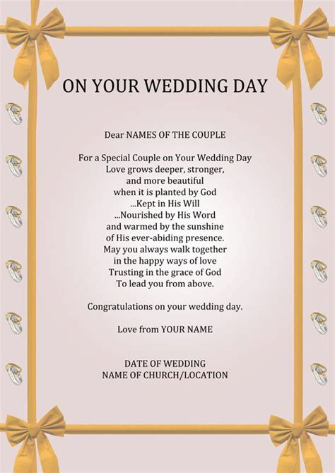 7 Ideas For Your Marriage by Wedding Day Poems Personalised Your Wedding