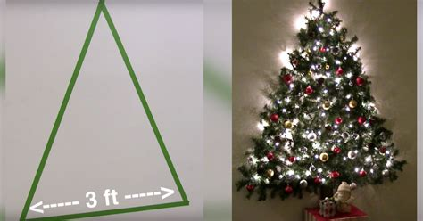 how to mount a chrismas tree wall mounted tree saves space by attaching garland lights