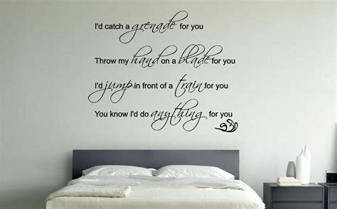 bedroom wall decor quotes bruno mars grenade lyrics music wall art sticker decal