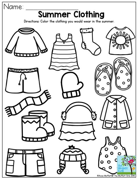kindergarten activities on pinterest summer clothing color the items that you would wear in
