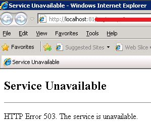 service unavailable http error 503 the service is unavailable