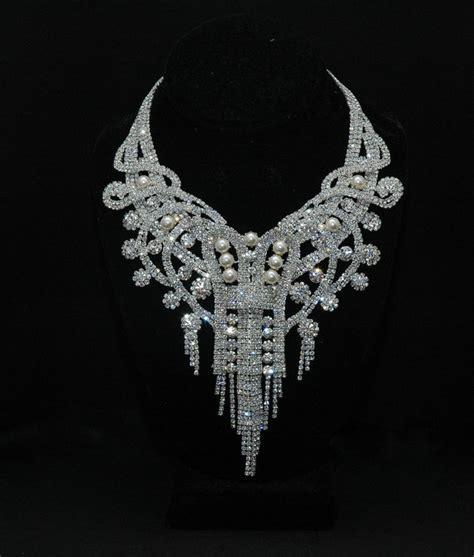 bridal necklace art deco bridal crystal necklace set