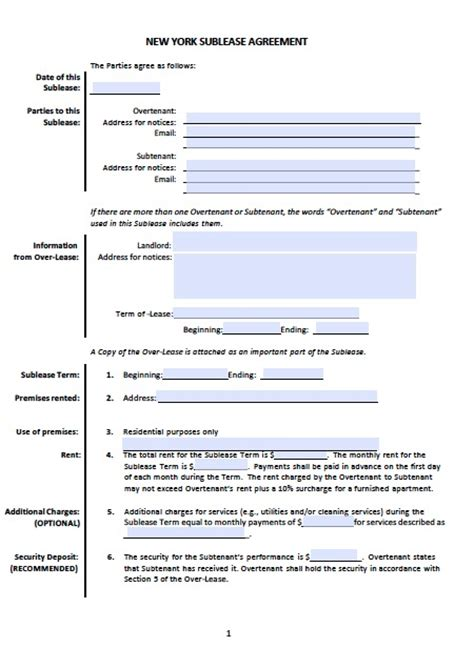 sublet rental agreement template free new york sublease agreement templates pdf word