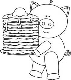 pancake coloring pages black and white pig with pancakes clip black and