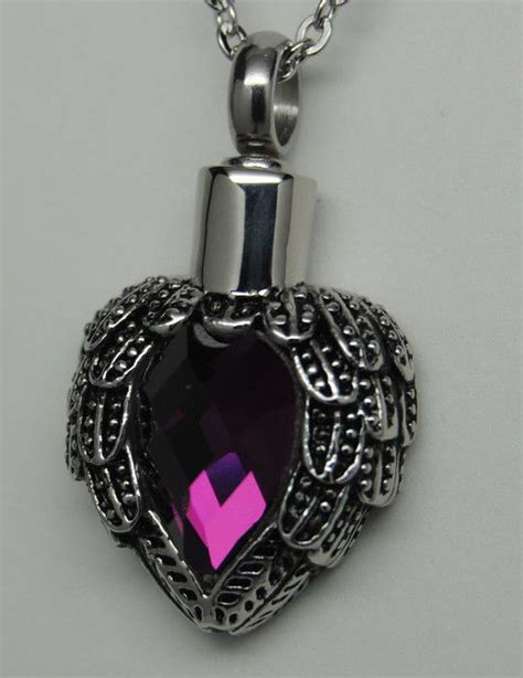 memorial jewelry purple wings cremation urn necklace wings cremation jewelry memorial