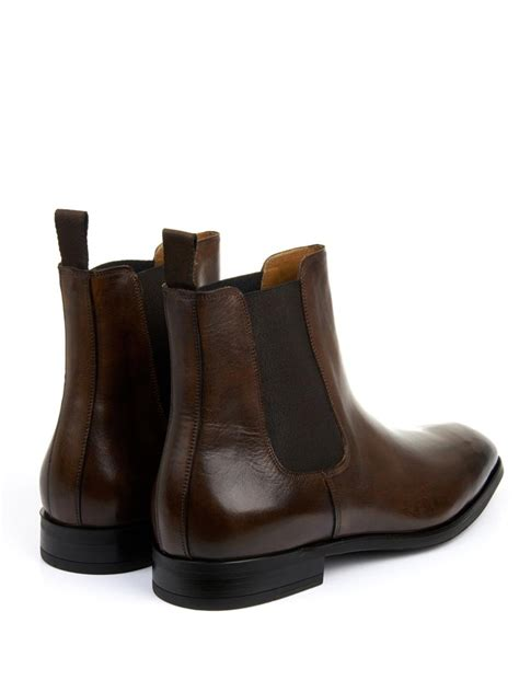 canile high shine leather chelsea boots in brown for