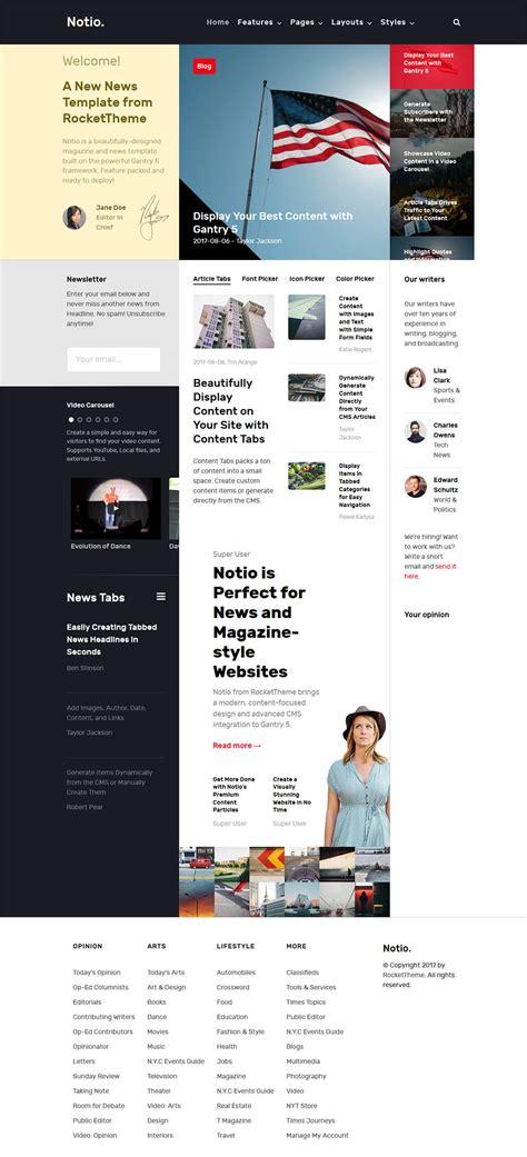 joomla themes rocket rockettheme notio v1 1 2 template for the news portal