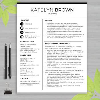 Teaching Resume Template Microsoft Word by Resume Template For By Wfo Creative Teachers Pay Teachers