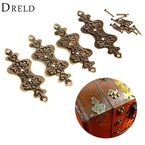 4pcs antique brass corner bracket jewelry gift box wood