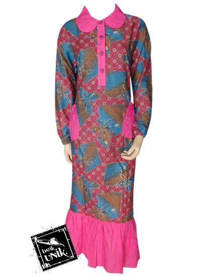 Gamis Terbaru Kancing Depan Baju Batik Gamis Kancing Depan Motif Etnik Kupu Gamis