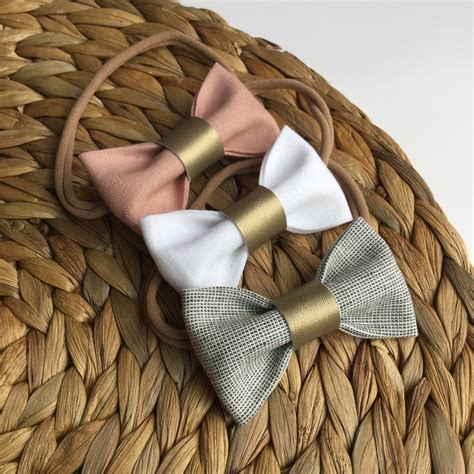 beautiful pink and grey baby headbands pale pink and grey linen fabric hairbows newborn baby