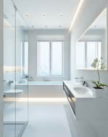 White Bathroom Lighting - modern white bathroom interior design ideas