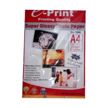 Kertas Artpaper Oneprint A4 230 Gsm jual e print glossy photo paper 230 gsm a4 20 sheets harga kualitas terjamin
