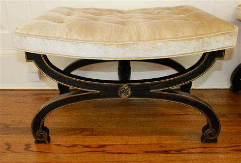 Regency Furniture by Pair Of Ebonized X Form Tabouret Benches Regency Style