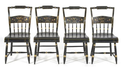 set of four antique pillowback hitchcock style side chairs