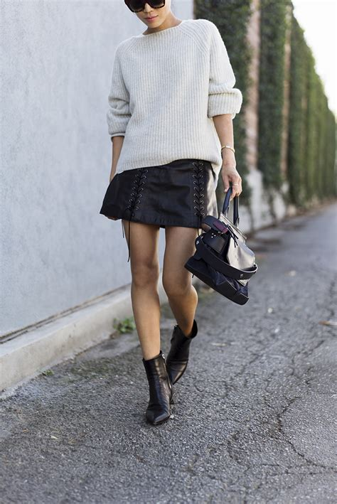 sweater and leather skirt for fall in la song of style