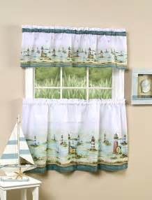 Nautical Kitchen Curtains Htons Lighthouses Nautical 24l Tiers Valance Set Kitchen Curtains Ebay