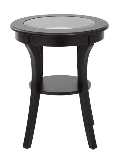 round glass top accent table osp designs harper round glass top accent table with wood
